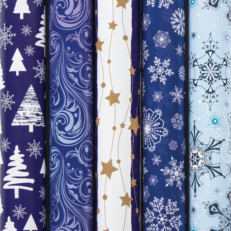 Упаковочная бумага новогод 0.7*1м 70г/м ЗС Blue Collection 591583